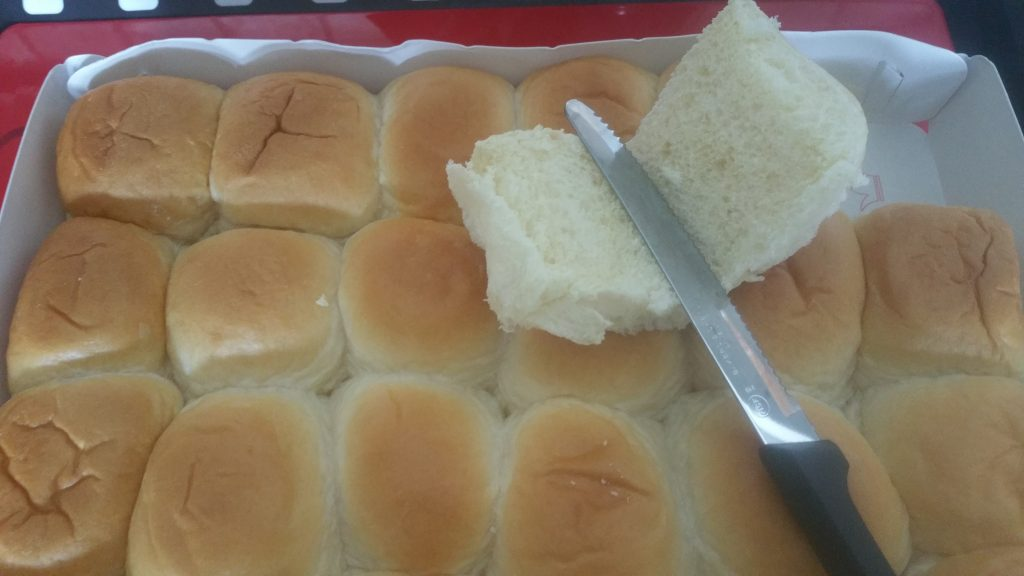 Slice open rolls for Hobsess sliders
