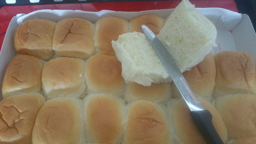 Slice open rolls for Hobsess sliders
