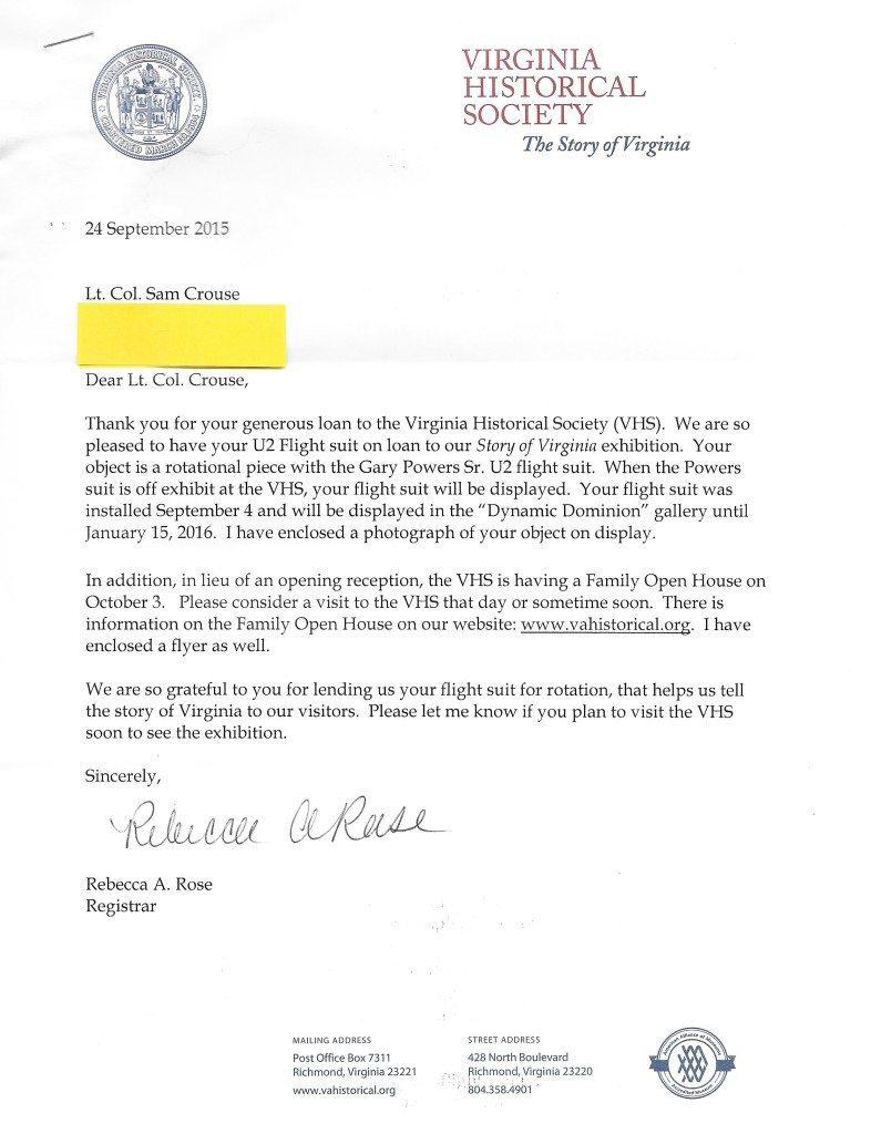 Cold War Museum Letter