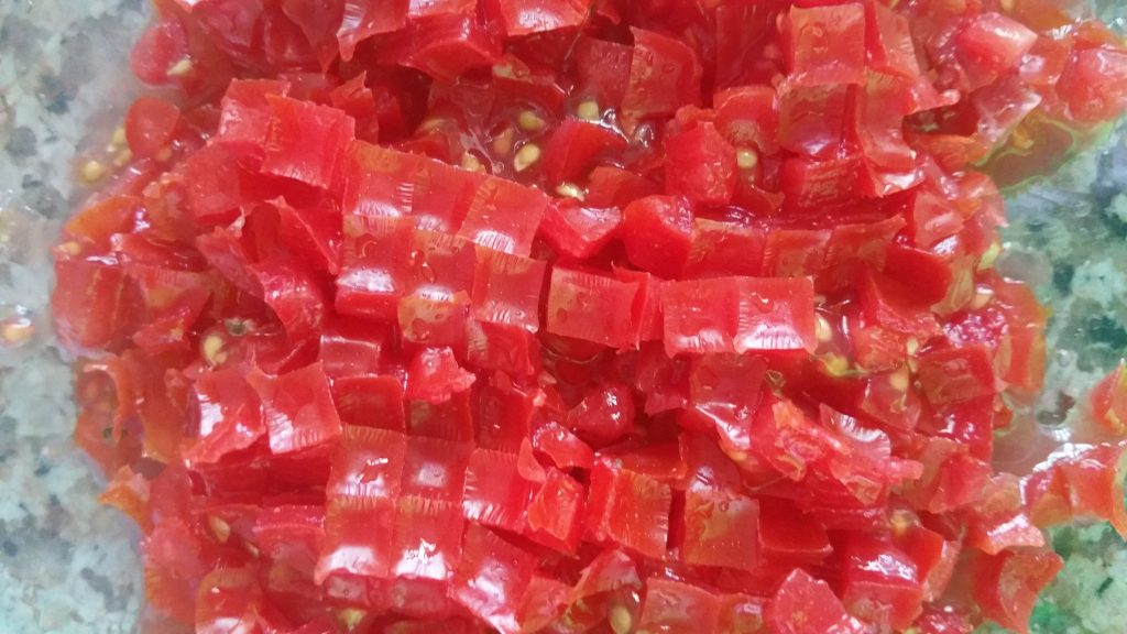 Little cubes of tomatoes for guacamole