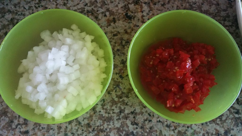 Tomato and Onion cubes in small bowls
